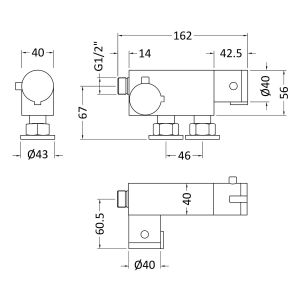 Nuie Vertical Thermostatic Bar Valve Line Drawing