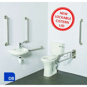 Nymas Close Coupled Dark Blue Doc M Pack with Lockable Cistern