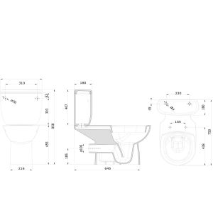 Nymas Close Coupled Doc M Toilet with Dark Blue Ring Seat Drawing