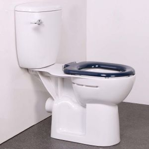 Nymas Close Coupled Doc M Toilet with Dark Blue Ring Seat
