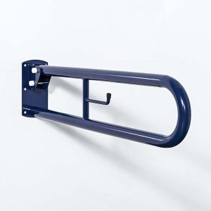 Nymas Trombone Hinged Steel Support Rail with Toilet Roll Holder & Leg