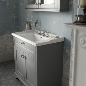 Old London Storm Grey Compact Vanity Unit 560mm Lifestyle