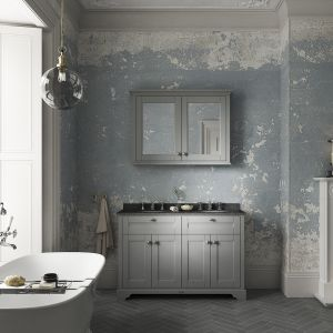 Old London Storm Grey Vanity Unit with Black Marble Top 1200mm Lifestyle