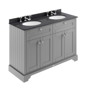Old London Storm Grey Vanity Unit with Black Marble Top 1200mm