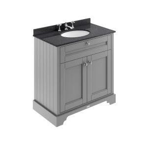 Old London Storm Grey Vanity Unit with Black Marble Top 800mm