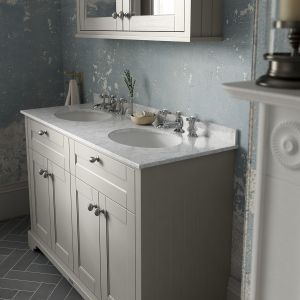 Old London Storm Grey Vanity Unit with White Marble Top 1200mm Lifestyle