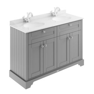 Old London Storm Grey Vanity Unit with White Marble Top 1200mm