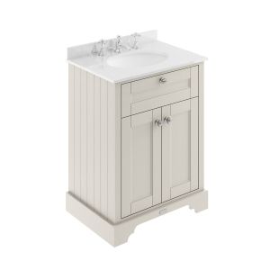 Old London Timeless Sand Vanity Unit with White Marble Top 600mm