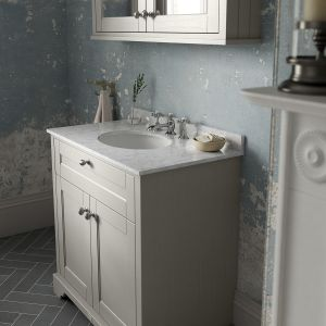 Old London Timeless Sand Vanity Unit with White Marble Top 800mm Lifestyle