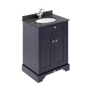 Old London Twilight Blue Vanity Unit with Black Marble Top 600mm
