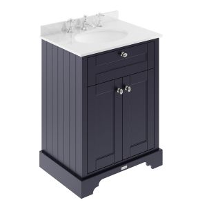 Old London Twilight Blue Vanity Unit with White Marble Top 600mm