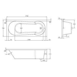 Frontline Oporto Round Single Ended Shower Bath Drawing