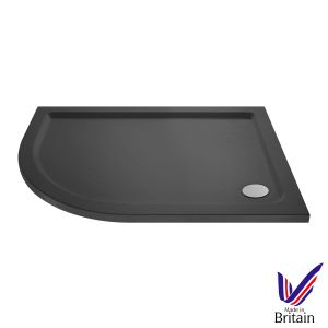 900 x 800 Shower Tray Slate Grey Offset Quadrant Low Profile Left Hand by Pearlstone