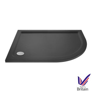 1000 x 900 Shower Tray Slate Grey Offset Quadrant Low Profile Right Hand by Pearlstone