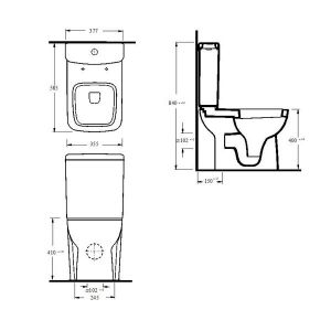 Nuie Ambrose Compact Semi Flush to Wall Toilet with Soft Close Seat Measurements