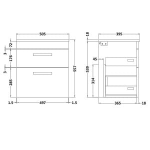 Nuie Athena Grey Avola 2 Drawer Wall Hung Vanity Unit with 18mm Profile Basin 500mm Line Drawing