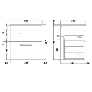 Nuie Athena Gloss White 2 Drawer Wall Hung Vanity Unit with 18mm Profile Basin 500mm Line Drawing