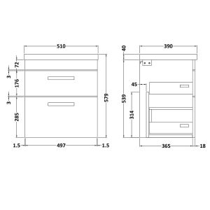 Nuie Athena Gloss White 2 Drawer Wall Hung Vanity Unit with 40mm Profile Basin 500mm Line Drawing