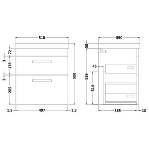Nuie Athena Gloss White 2 Drawer Wall Hung Vanity Unit with 50mm Profile Basin 500mm Line Drawing