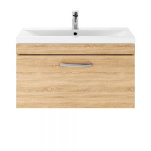 Premier Athena Natural Oak 1 Drawer Wall Hung Vanity Unit 800mm with Mid Edge Basin