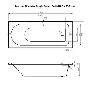 Premier Barmby Single Ended Bath 1700 x 700mm Dimensions