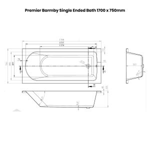 Premier Barmby Single Ended Bath 1700 x 750mm Dimensions