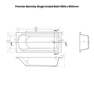 Premier Barmby Single Ended Bath 1800 x 800mm Dimensions