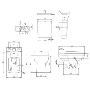 Nuie Bliss Toilet and Basin Set Drawing