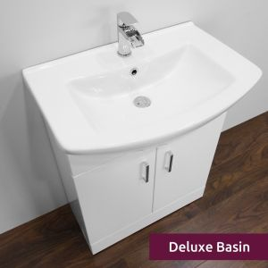 Premier High Gloss White Vanity Unit 650mm with Deluxe Basin