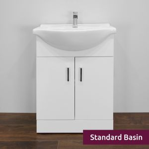 Premier High Gloss White Vanity Unit 650mm with Standard Basin Front