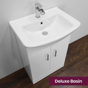 Nuie High Gloss White Vanity Unit with Deluxe Basin