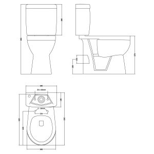Nuie Ivo Comfort Height Close Coupled Toilet with Standard Seat
