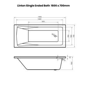 Premier Linton Single Ended Bath 1600 x 700mm Dimensions