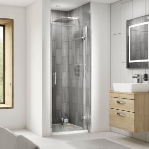 Nuie Pacific Hinged Shower Door with Optional Side Panel Recess
