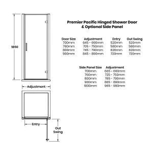 Nuie Pacific Hinged Shower Door with Optional Side Panel Dimensions