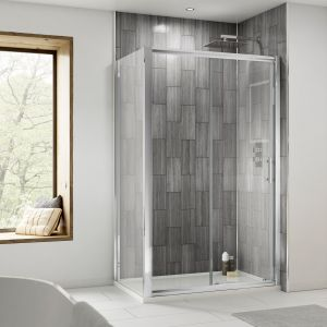 Nuie Pacific Single Sliding Shower Door with Optional Side Panel