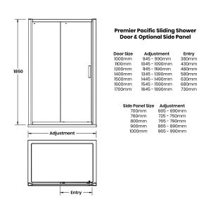 Nuie Pacific Single Sliding Shower Door with Optional Side Panel Dimensions
