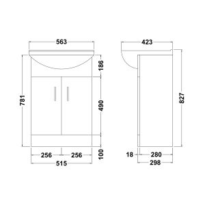 Premier Madison Vanity Unit Dimensions