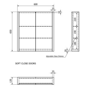 Kartell Purity Grey Ash Double Mirrored Bathroom Cabinet 600mm Drawing