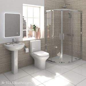 RAK Compact Shower Suite with Pacific Offset Quadrant Shower Enclosure