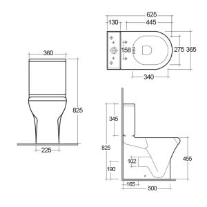 RAK Compact Comfort Height Flush To Wall Toilet Measurements