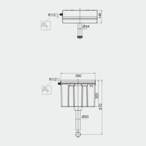 RAK Ecofix Side Inlet Concealed Cistern with Push Button Drawing