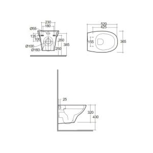 RAK Morning Rimless Wall Hung Toilet with Soft Close Seat Dimensions