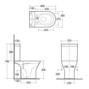 RAK Resort Mini Full Access Close Coupled Rimless Toilet Dimensions