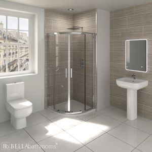 RAK Series 600 En-Suite Bathroom with Pacific Quadrant Shower Enclosure