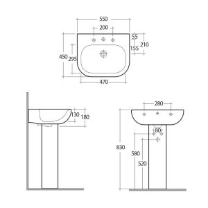 RAK Tonique 1 Tap Hole Luxury Basin with Full Pedestal Dimensions