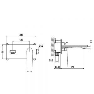 RAK Blade Wall Mounted Basin Mixer Tap with Backplate Measurements