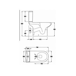 RAK Compact Special Needs Rimless Side Lever Close Coupled Toilet Measurements