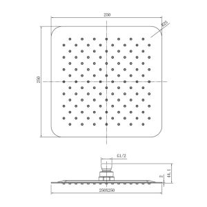 RAK Black Square Ultra Slim Shower Head 250mm Measurements