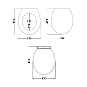 Richmond & Carlton Storm Grey Soft Close Toilet Seat Dimensions